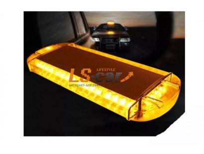 """Световая панель 813 COB-10 оранжевый (""""Стробоскоп"""", на магните, в прикур.) DC 12V (10  режимов работы, переключатель на разъеме, 22*60*10см)"""