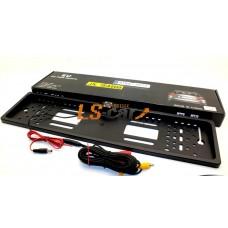 Рамка заднего номерного знака JX9488 КАРБОН пластик с камерой заднего (кабели подключения к LED или ЖК-дисплеям)
