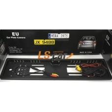 Рамка заднего номерного знака  JX948816LED КАРБОН пластик с камерой заднего вида и подсветкой 16LED  (кабели подключения к LED или ЖК-дисплеям)