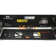 Рамка заднего номерного знака  JX948816LED ХРОМ пластик с камерой заднего вида и подсветкой 16LED  (кабели подключения к LED или ЖК-дисплеям)