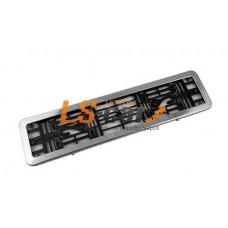 Рамка для ГОС. номерного  знака  пластик Dollex нерж сталь+ подложка пласт. с закруг. углами/SPL-10