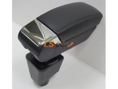 Подлокотник в подстаканник Nissan Almera G15 2012-2018, Lada Largus 2012-..., Renault Logan 2004-2012-..., Renault Sandero 2009-2014-... хром (48025BK+CH)