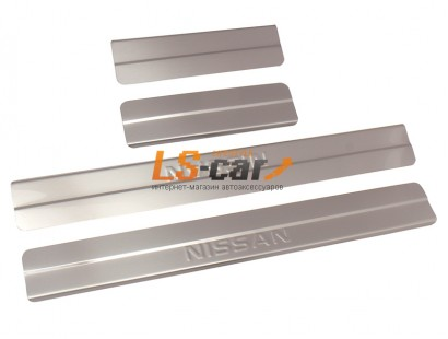 Накладки на пороги Nissan Almera G15 2012- (Штамп) (ступ)