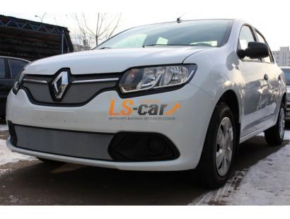 Защита радиатора  Renault Logan 2014- низ chrome(Privilege, Luxe)