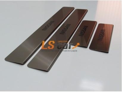 Накладки на пороги Nissan Sentra из нержавеющей стали (комп 4шт.)
