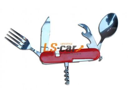 Туристический раскладной набор (чайная ложка + нож;вилка + штопор+открывалка) в чехле