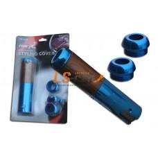 """Накладки на ручку ручного торможения """"TR319"""" алюминий+дерево синяя"""
