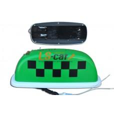 Знак ТАКСИ малый зеленый (защитная пленка,разъем для подключения, 4 магнита)  15/TX-sm-g