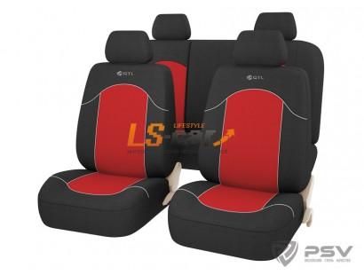 Чехлы «GTL» Fast (Красный) L, 2 перед.чехла,1 задн.спинка , 1 зад.сиденье,4 подголовника ,без молнии  /126247