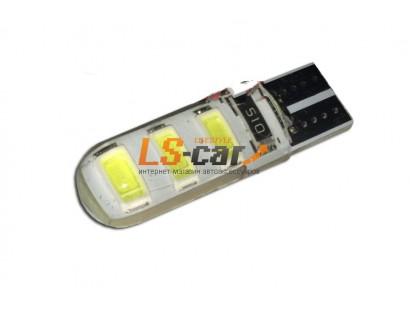 Светодиодная лампа для а/м T10B-6SMD-5630 W  (белый 6-светодиодов) 12V