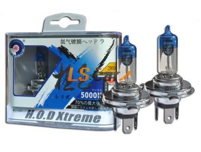 """Лампа галогеновая """"HOD XTREME""""C  5000K +50%  H4 12V60/55W P43T  (комплект 2шт)"""