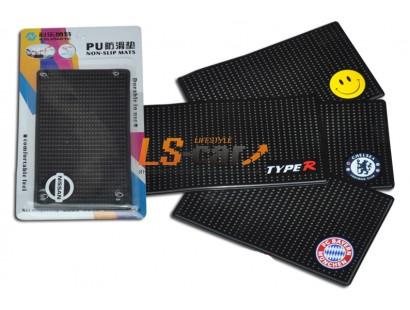Коврик панели противоскользящий NT15х9см, Логотип /SMILE/ силиконовый черный