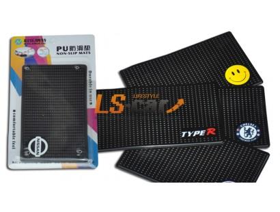 Коврик панели противоскользящий NT15х9см, Логотип /RALLI ART/ силиконовый черный