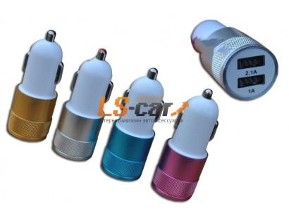 Адаптер USB с двумя выходами в прикуриватель,YB-5 золото. Dc-12-24v, Dc5v=2.1A/1A