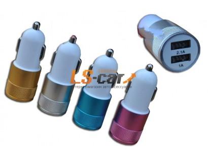 Адаптер USB с двумя выходами в прикуриватель,YB-5 розовый. Dc-12-24v, Dc5v=2.1A/1A
