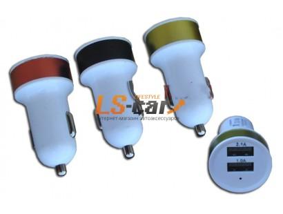 Адаптер USB с двумя выходами в прикуриватель,YB-6 серебро. Dc-12-24v, Dc5v=2.1A/1A