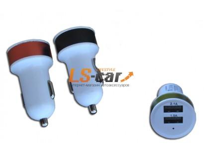Адаптер USB с двумя выходами в прикуриватель,YB-6 синий  Dc-12-24v, Dc5v=2.1A/1A