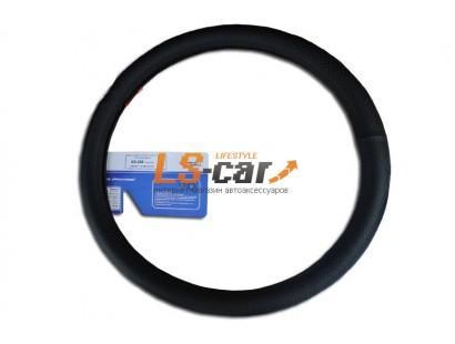 Оплетка на рулевое колесо Гладкая, перфорированная  кожа, черная, размер L (GD-202)