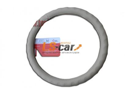 Оплетка на рулевое колесо Волна, перфорированная  кожа, бежевая, размер М (GD-037)