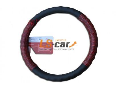 Оплетка на рулевое колесо Волна, кожа, черная +  красный крокодил , размер М (GD-016)