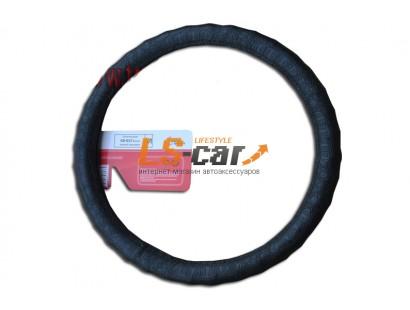 Оплетка на рулевое колесо Волна, кожа, черный крокодил, размер М (GD-017)