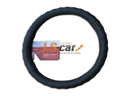 Оплетка на рулевое колесо Волна, кожа, черная +  серый крокодил , размер М (GD-020)