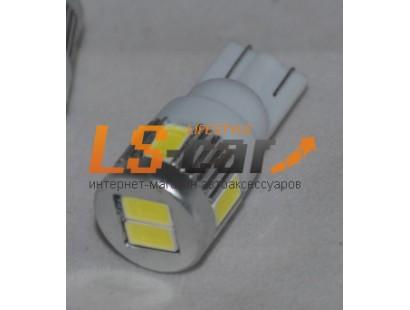 Светодиодная лампа для а/м T10-6SMD-5630 без  линзы (белый)12V