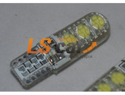 Светодиодная лампа для а/м T10-5050-6SMD-Crystal  (белый 6-светодиодов) 24V