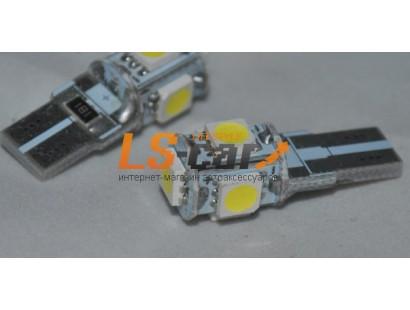 Светодиодная лампа для а/м T10-5050-5SMD 50505 SMD-Canbus  24V