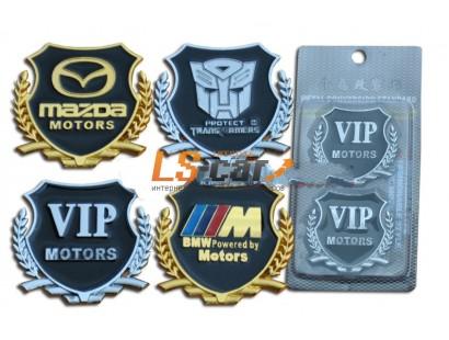 """Шильдик-эмблема металлизированная""""BMW"""" 3D  ( двухст, скотч) цвет золотой+черный эмаль/комп,2шт."""
