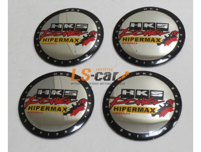 "Наклейка  OR-5 ""HKS"" на автомоб, колпаки, диски (диаметр 60мм.) пластик/ комп. 4шт."