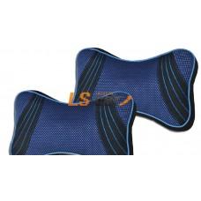 Подушка на подголовник ткань черная с синей отстрочкой, комплект (2 шт)