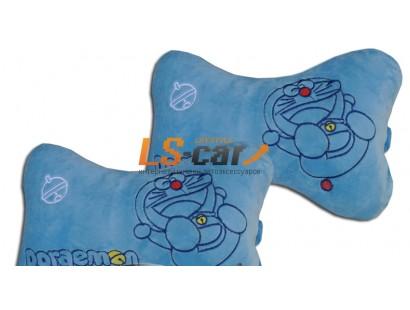 """Подушка на подголовник велюр  голубой """"Doraemon"""", комплект (2шт)"""