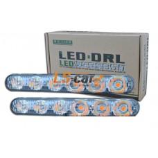 ДНЕВНЫЕ ХОДОВЫЕ ОГНИ DRL-6LUX  6-LED 0.5W 12V (2 функции белый+желтий)
