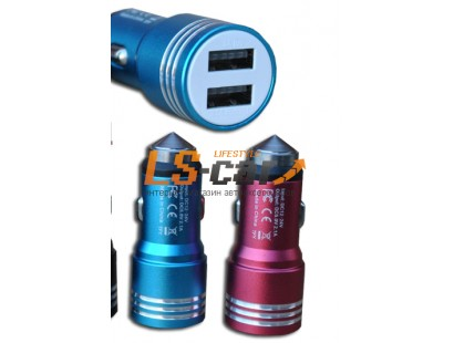 Адаптер USB с двумя выходами в прикуриватель МЕТАЛЛ, красный Dc-12-24v, Dc5v=2.1A/1A