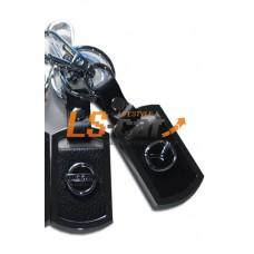 Брелок AA0530 - PEUGEOT прямоугольный, черная кожа+металл, с карабином