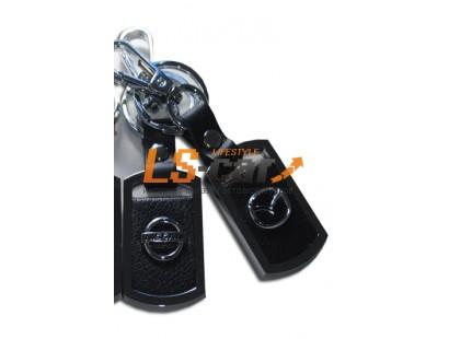 Брелок AA0530 - MAZDA прямоугольный, черная кожа+металл, с карабином