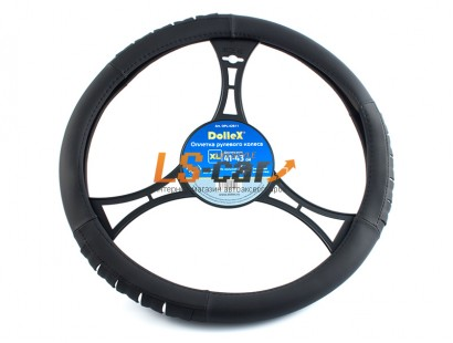 Оплетка на рулевое колесо Dollex черная, размер XL (41-43см) из полиуретана/OPL-42611