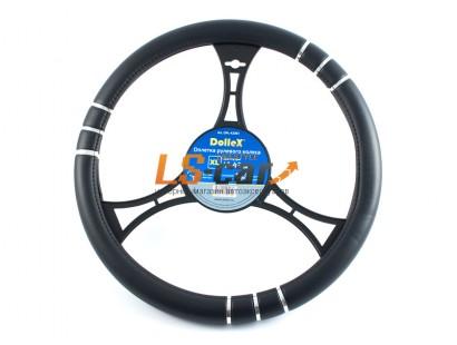 Оплетка на рулевое колесо Dollex черная с вставками,размер XL (41-43см) из полиуретана/OPL-42361