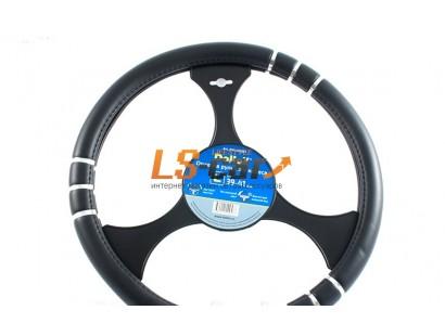 Оплетка на рулевое колесо Dollex черная с вставками,размер L (39-41см) из полиуретана/OPL-40361