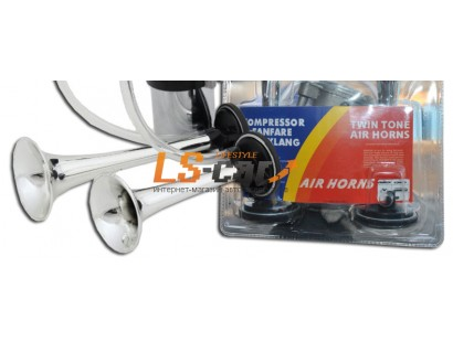 Сигнал звуковой  воздушный TZ-F001-1, 2-х рожковый,хромированный,12V