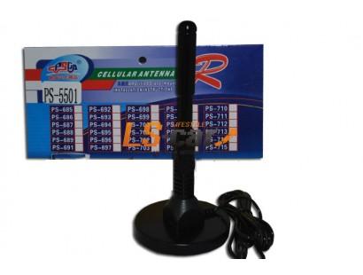 Антенна PS-5501 активная магнитная, пруток пластик/прямой 16см, диаметр 85мм, длина кабеля 1,7м