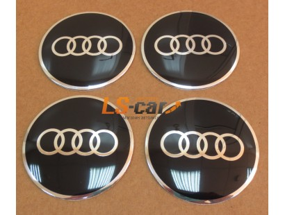 """Наклейка  OR-6 """"AUDI"""" на автомоб, колпаки, диски (диаметр 65мм.) пластик/ комп. 4шт."""