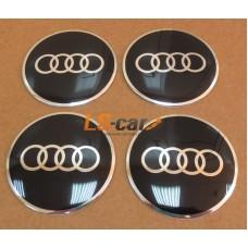 """Наклейка  OR-4 """"AUDI"""" (диаметр 55мм.) на автомоб, колпаки, диски, пластик/ комп. 4шт."""