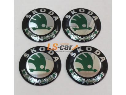 "Наклейка  OR-4 ""Skoda"" (диаметр 55мм.) на автомоб, колпаки, диски, пластик/ комп. 4шт."