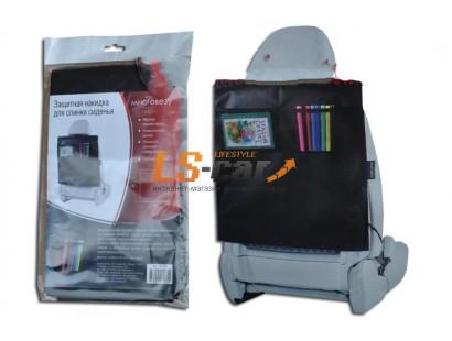 Накидка для спинки сиденья черная с карманами (55х50 см) материал-спанбонд М102/1