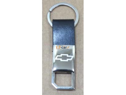 Брелок AA0143 - Chevrolet- черная кожа, хром, кольцо, с карабином на пружине/AA0143