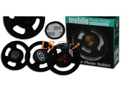 Держатель для мобильного телефона силиконовый магнитный AB-01 РУЛЕВОЕ КОЛЕСО с  логотипом PORSCHE