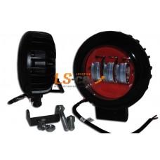 Фонарь светодиодный  30W (A) чёрный+красный (Круглая) d=12см, c=6см, LED-3 (9-30V)