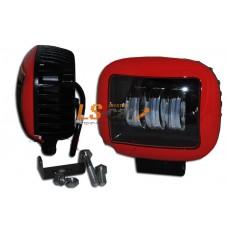 Фонарь светодиодный  30W (B) красный+чёрный (Квадратная) 13*10*6см, LED-3 (9-30V)